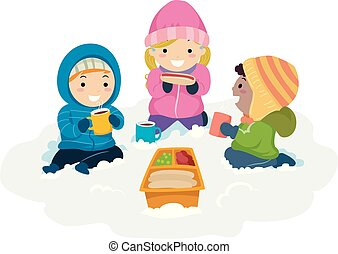 Stickman Kids Winter Picnic Snow Illustration