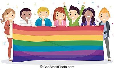 Stickman Teens Rainbow Banner Celebrate