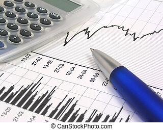 Stock chart, grey translucent calculator and blue pen.