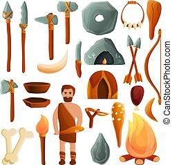 Stone age icons set, cartoon style