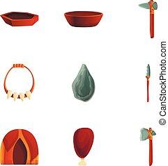 Stone age weapon icon set, cartoon style