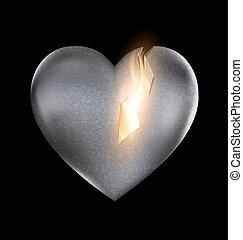 stone burning heart