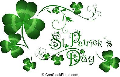 St.Patrick day greeting with shamrocks