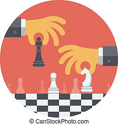 Flat design modern vector illustration concept of two business people playing chess and try to find strategic position and tactic for long-term success plan or goal. Isolated in round shape on white background