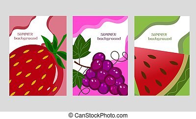 Strawberries, watermelon and grapes on an abstract background. Summer illustration.