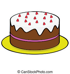 Cartoon illustration of a chocolate cake with strawberry topping and filling