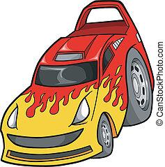 Street Race Car Vector Illustration