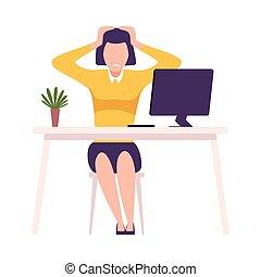 Stressed Businessman Sitting at the Desk Grabbing her Head Flat Vector Illustration