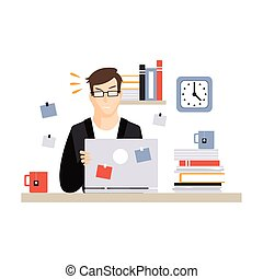 Stressed busy young businessman character sitting at the computer desk with laptop and working, daily life of office employee vector Illustration