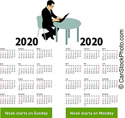 Stylish calendar with silhouette man sitting behind computer for 2020