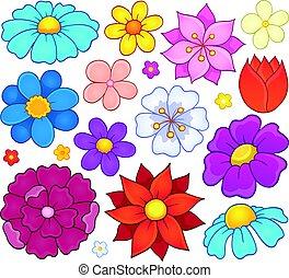 Stylized flower heads theme set 1