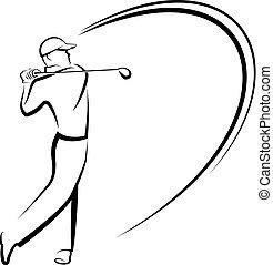 Stylized Golfer Teeing Off