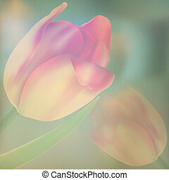 Stylized vintage card with red tulips. EPS 10