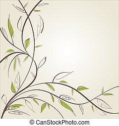 Stylized willow branch. Vector illustration