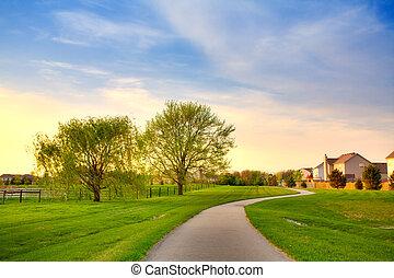 Quiet summer evening scene in suburban Indianapolis, Indiana