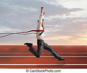 businessman wins the foot race