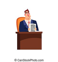 Successful businessman character sitting at his desk and working with documents cartoon vector Illustration on a white background