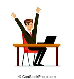 Successful businessman sitting at his desk and celebrating with arms up vector Illustration