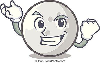 Successful golf ball character cartoon