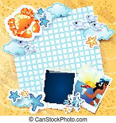 Summer background with paper and photo frames. Vector illustration eps10