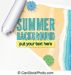 Summer beach with sand, surf and beach umbrellas. Background with torn and twisted paper. Blank advertising poster