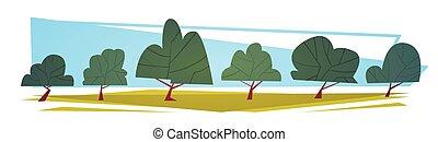 Summer Landscape Green Trees Cartoon Horizontal Banner