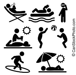 Summer pictograms flat people icons isolated on white