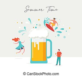 Summer scene, group of people, family and friends having fun around a huge beer, surfing, swimming in the pool, drinking cold beverage, playing on the beach