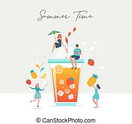 Summer scene, group of people, family and friends having fun around a huge glass of juice, fruit smoothie, surfing, swimming in the pool, drinking cold beverage, playing on the beach