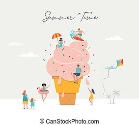 Summer scene, group of people having fun around a huge ice cream, surfing, swimming in the pool, drinking cold beverage, playing on the beach