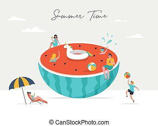 Summer scene, group of people having fun around a huge watermellon, surfing, swimming in the pool, drinking cold beverage, playing on the beach