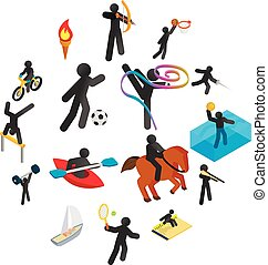 Summer sports isometric 3d icons set