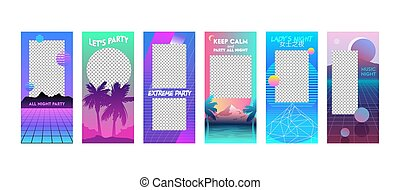 Summer Vacation Editable Templates Set in Vaporwave Style. Modern Unique Cyberpank Design Backgrounds for Social Media Stories Banners and Digital Marketing Advertising Promotion, Vector Illustration.