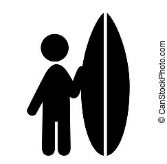Summer Water Sport Surfing Pictograms Flat People Icons Isolated on White