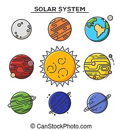 Sun and solar system planets.