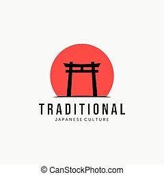 Sunset Torii Gate Vector Logo Vintage, Japanese Traditional Culture Design and Illustration
