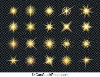 Sunshine glowing gold stars effects