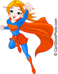 Illustration of Super Hero Girl in the fly