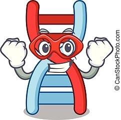 Super hero dna molecule character cartoon