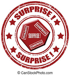 Grunge rubber stamp with word Surprise, vector illustration