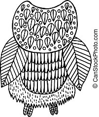 Surreal floral owl coloring page