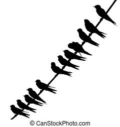 Swallows on a wire silhouette