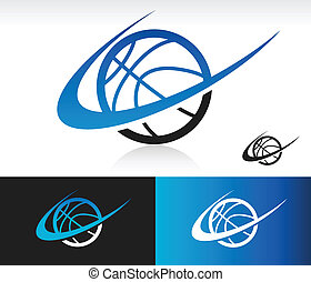 Basketball icon with swoosh graphic element.