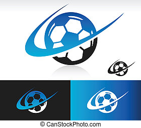 Soccer Ball icon with swoosh graphic element.