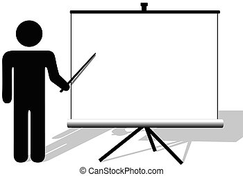 Listen up people! A symbol person points to big copyspace on old portable movie or retro presentation screen background.