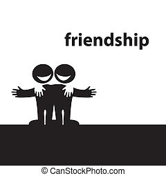 Symbol of friendship. Best friends. Vector illustration.