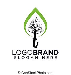 t Letter with tree logo vector