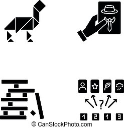 Tabletop games black glyph icons set on white space