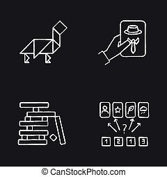 Tabletop games chalk white icons set on black background