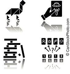 Tabletop games drop shadow black glyph icons set